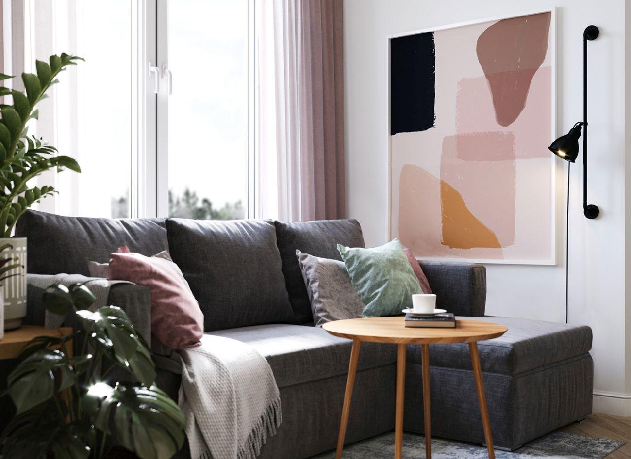 Pasztell színű párnák teszik kényelmesebbé a kanapét