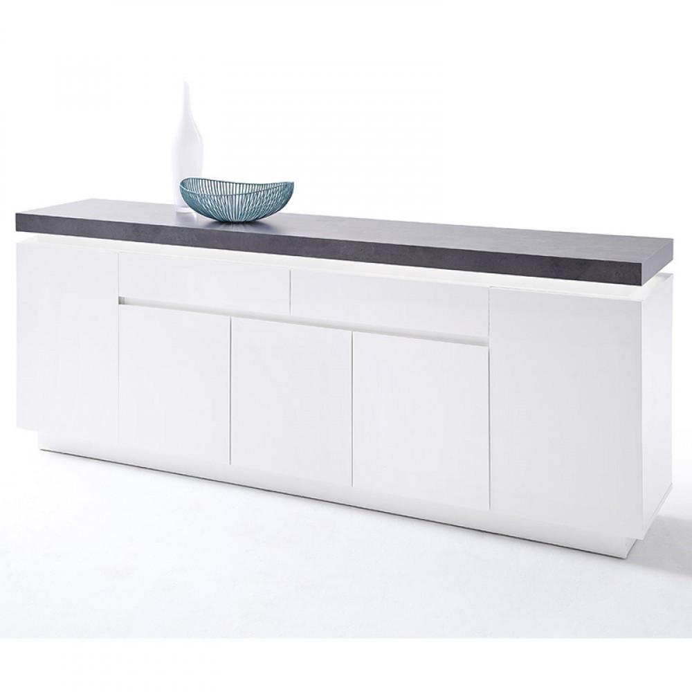 Atlanta polcos - fiókos komód matt fehér-beton színű