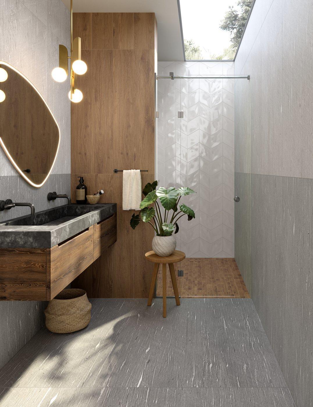 Marca Corona Tide Road kőmintás burkolat fürdőszobába
