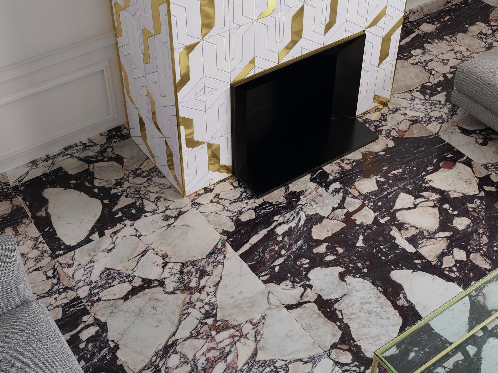 Kőmintás burkolat és Arany betétes mozaik Lantic Colonial