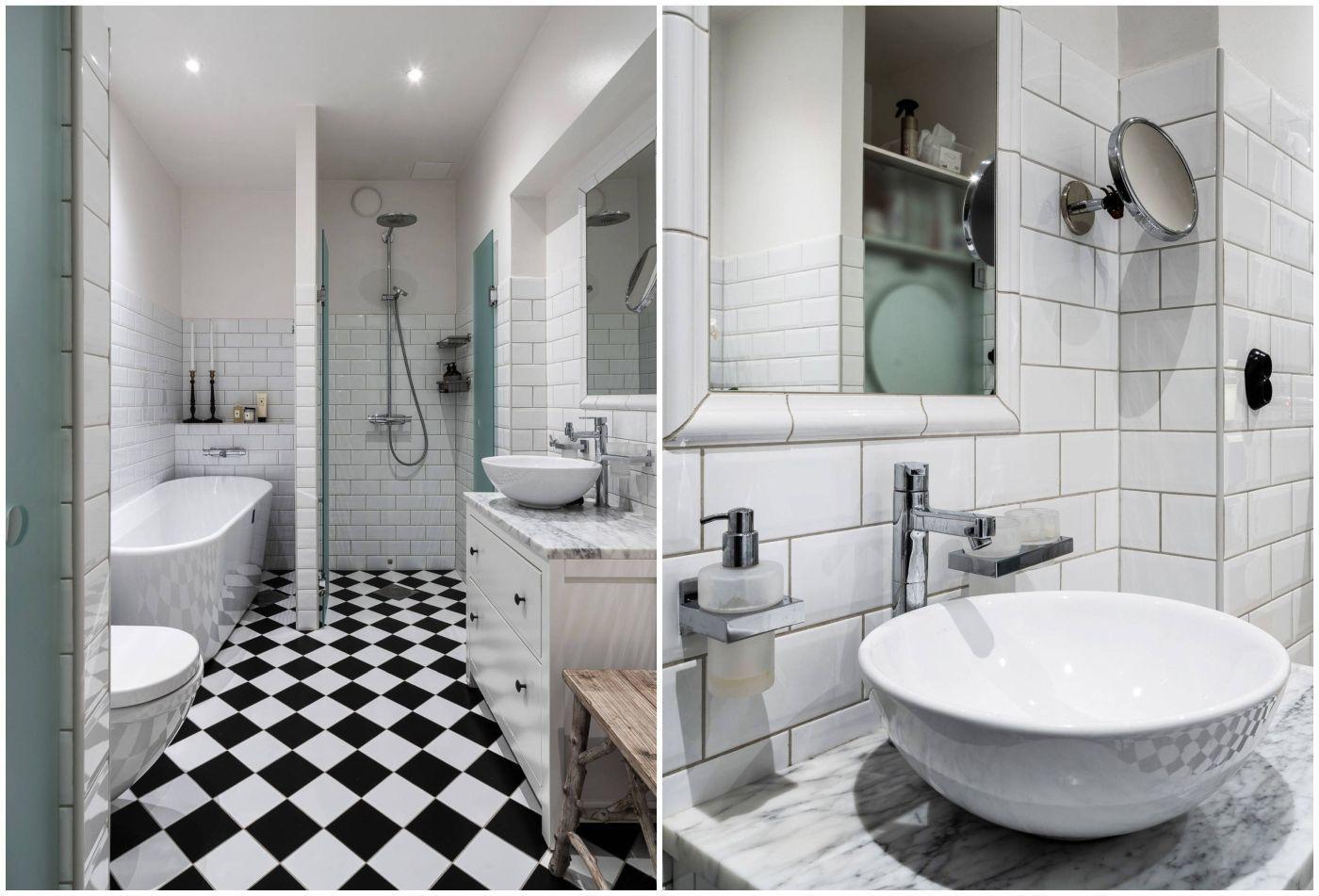 Kissé hűvös hatású de jól felszerelt fürdőszoba