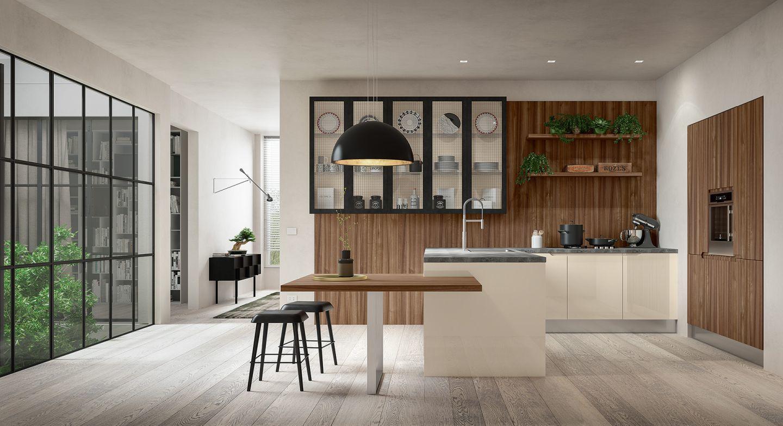 Félszigetes konyha kialakítás étkezőpulttal