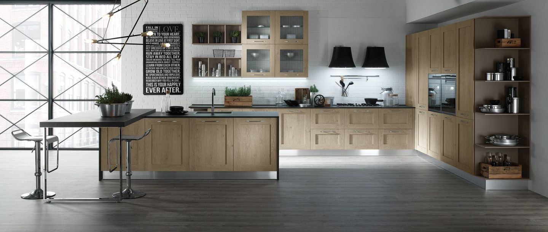 Modern-klasszikus konyhabútor üvegezett felső szekrényekkel