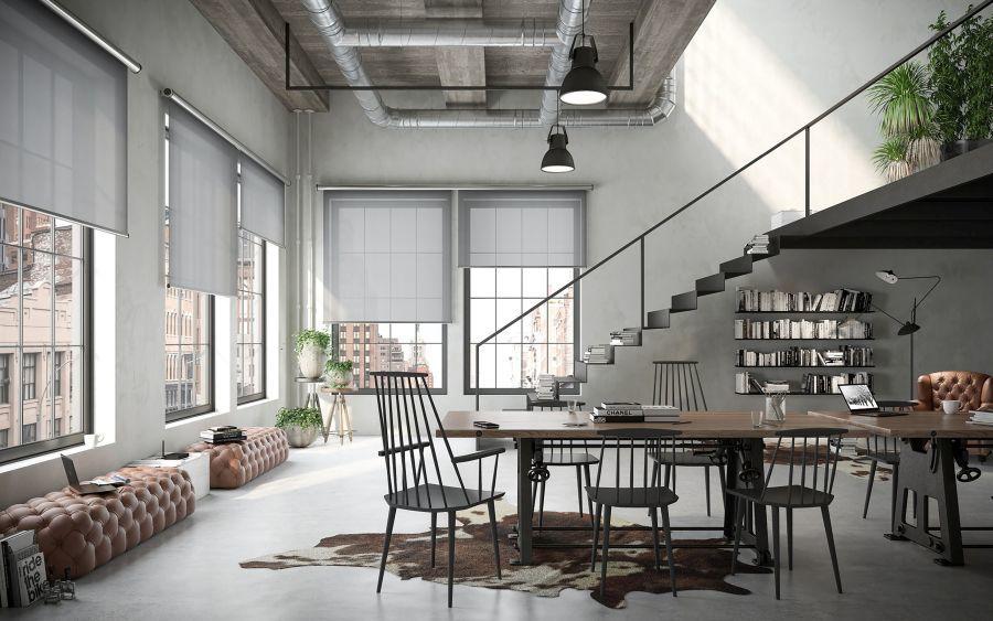 Roletta loft lakásban
