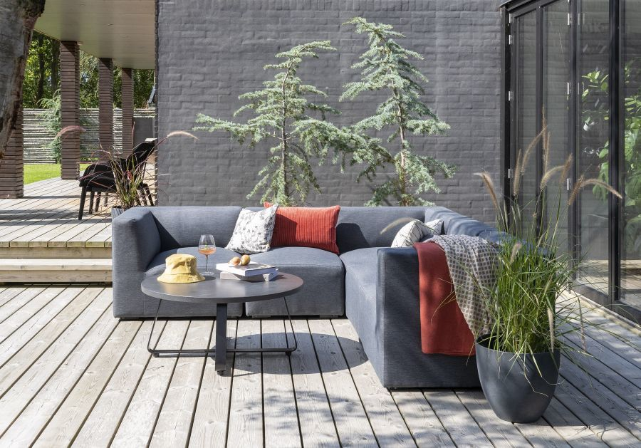 L-alakú kerti kanapé szürke