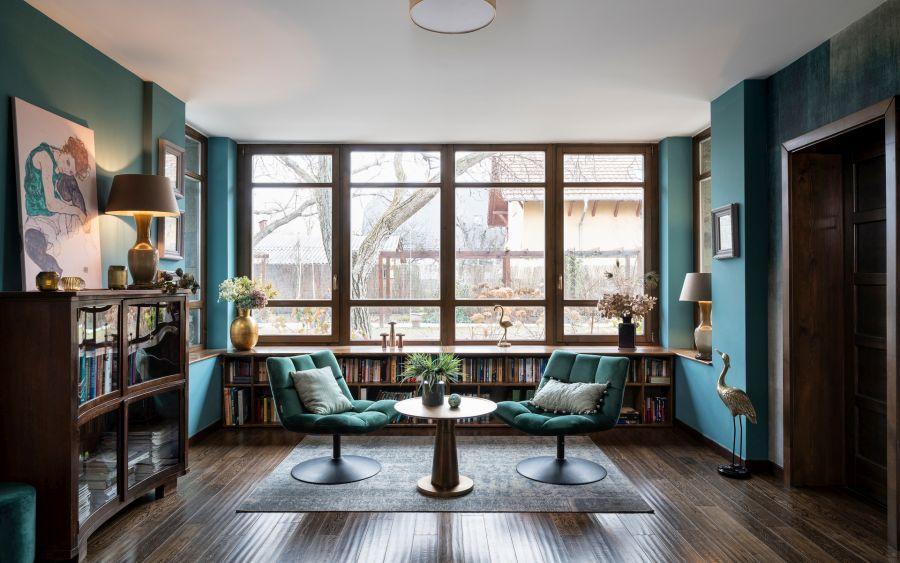 Olvasó és beszélgető zóna a nappaliban