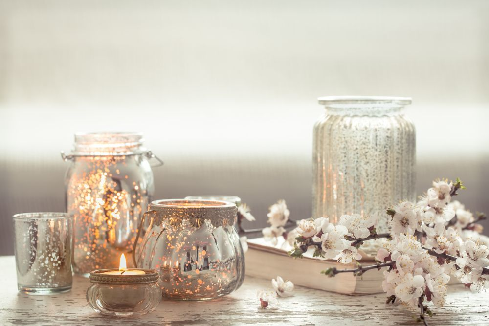 Üveg dekoráció asztalra