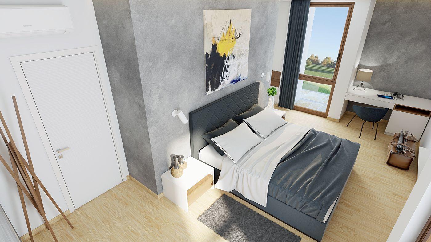 Kortárs festmény díszíti a hálószoba falát is