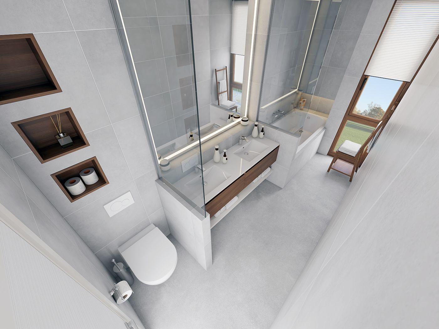 Dupla mosdód fürdőkádas fürdőszoba