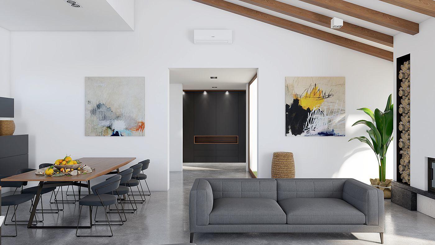 Modern festmények díszítik a szabad falakat