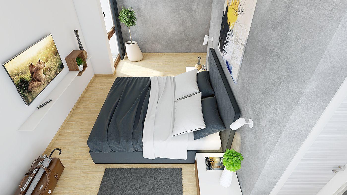 Hálószoba beton színű falakkal