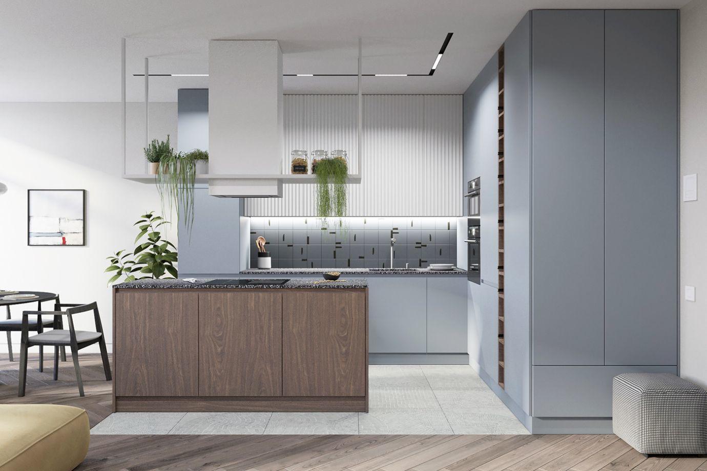 Kacsatojás kék konyhabútor, egy szép árnyalat
