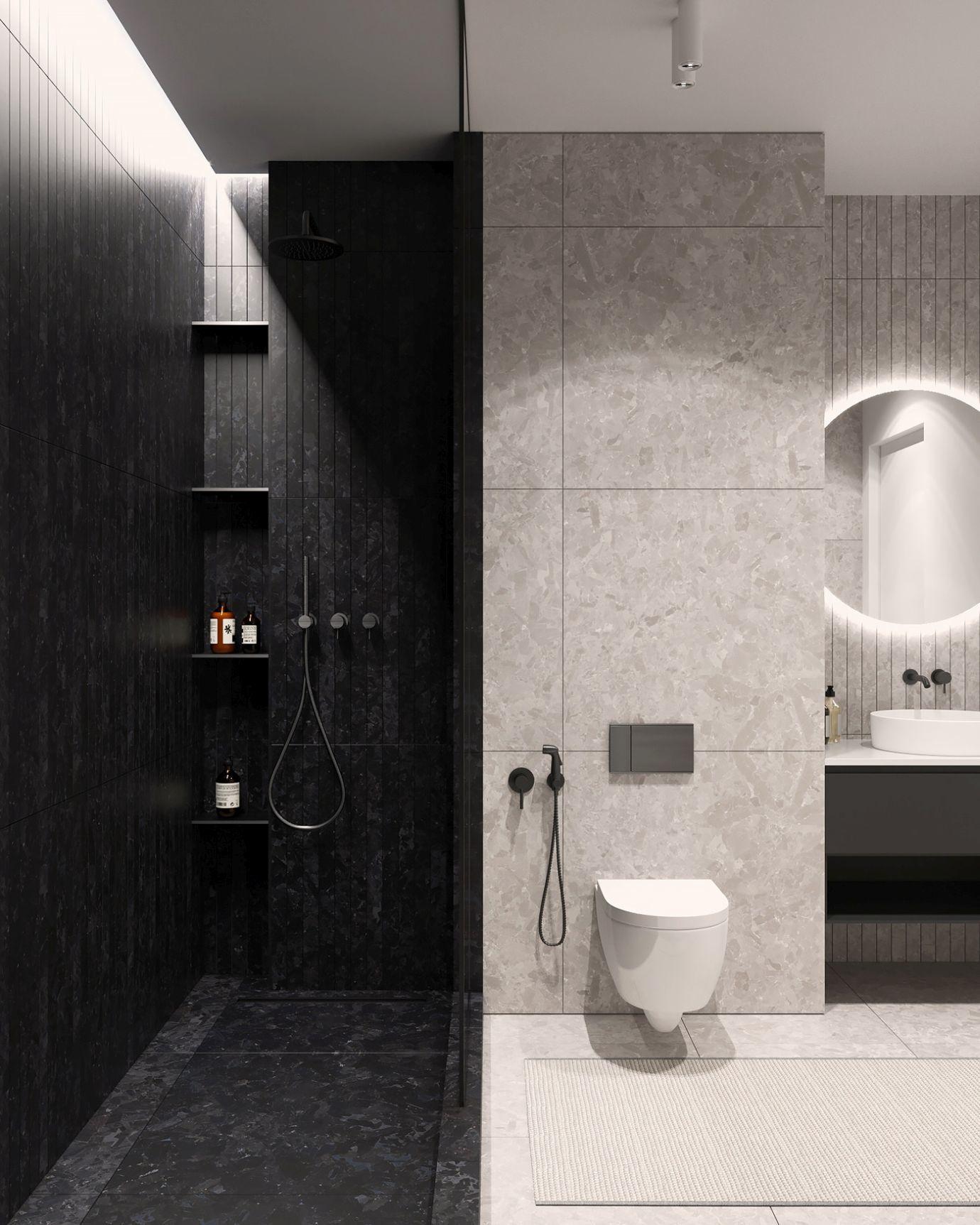 A fürdőszoba viszont sajnos nélkülözi a színeket, ám ennek ellenére profi