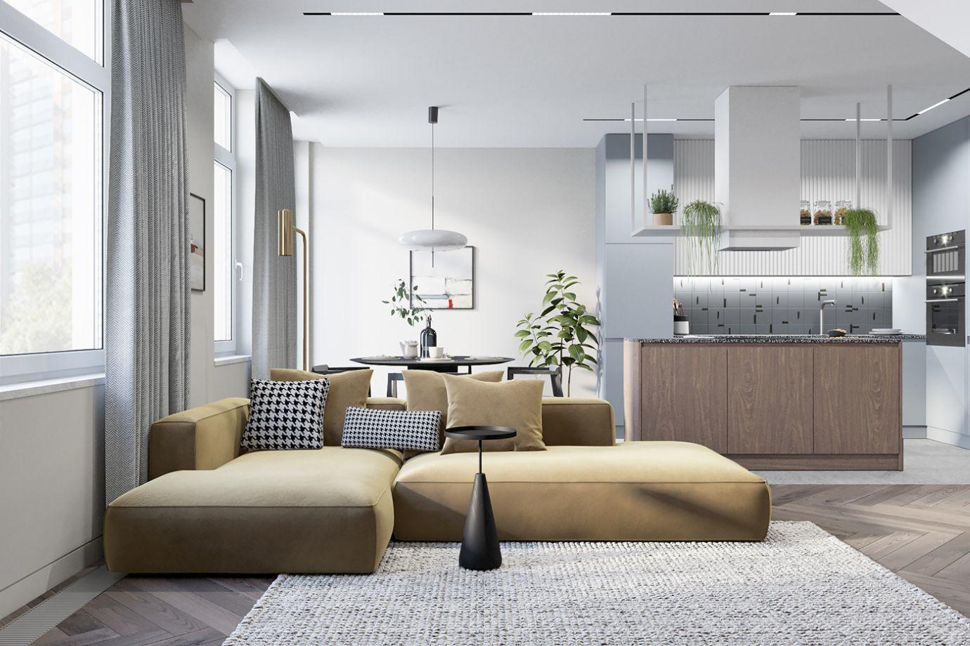Halványsárga kanapé a nappali dísze