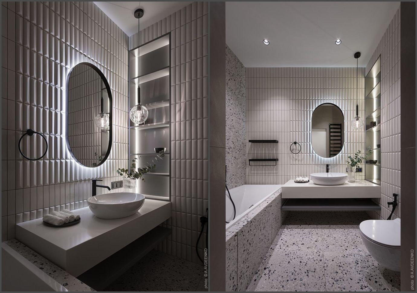 Fózolt csempék és kőszemcsés lapok a fürdőszobában