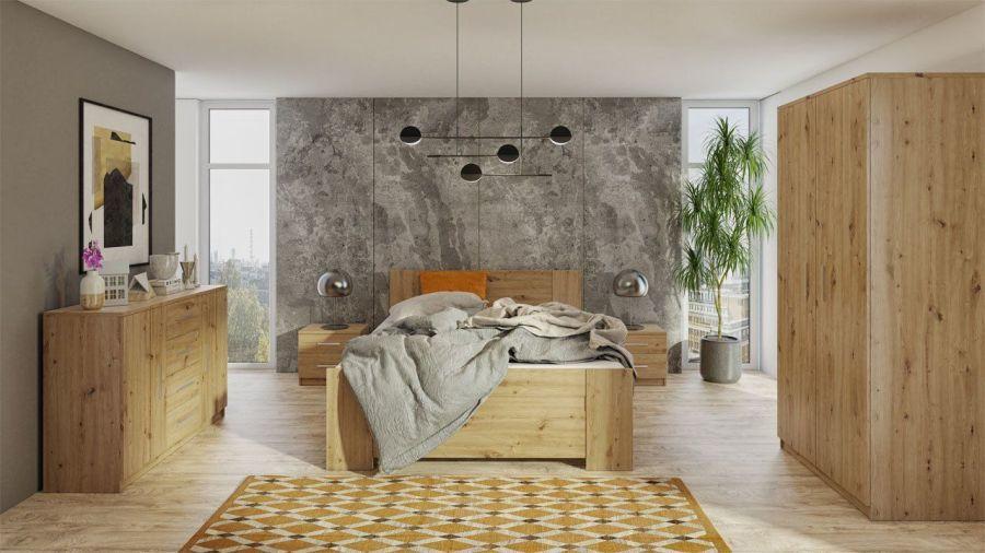 Hálószoba berendezés natúr fa színű bútorokkal