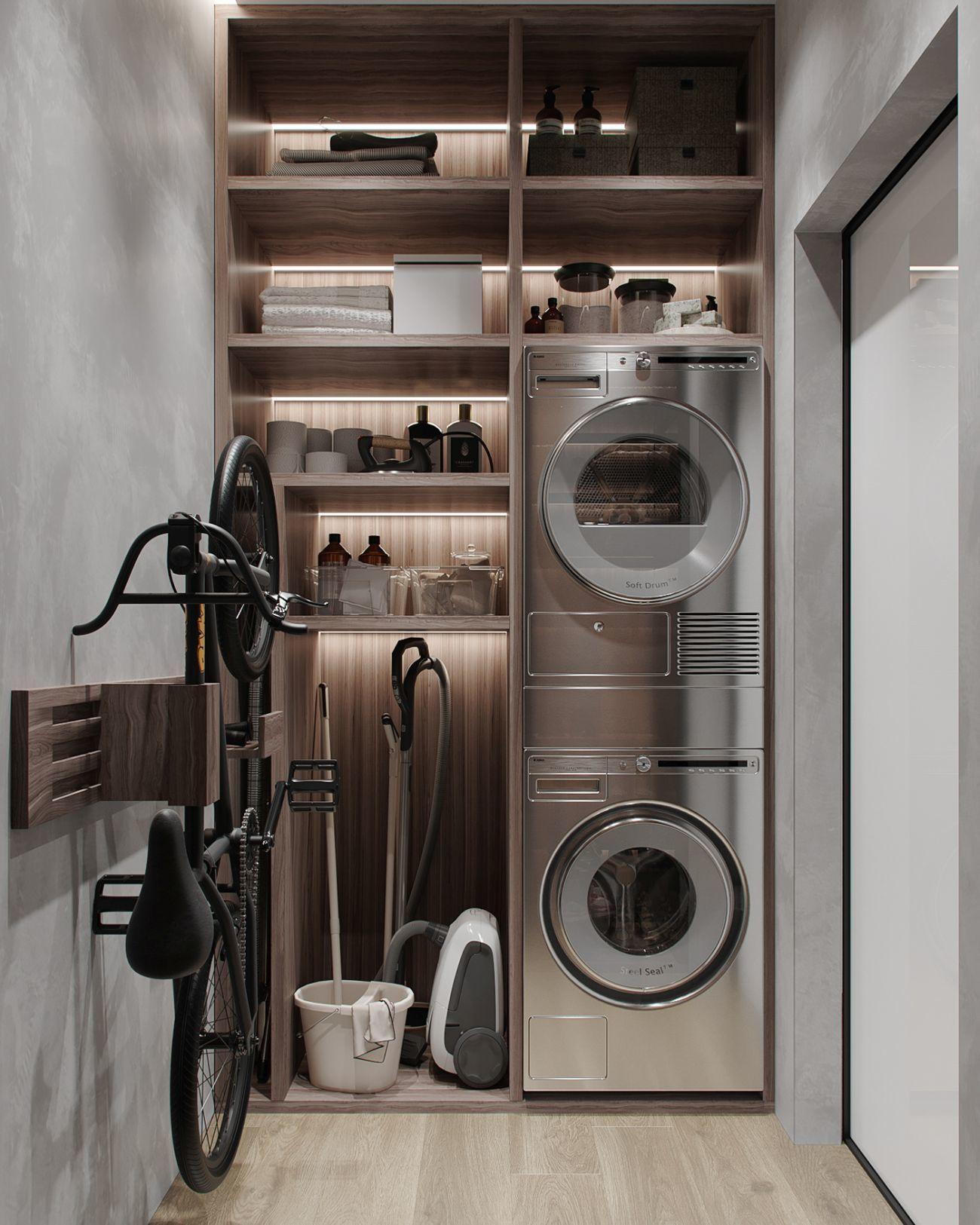 A háztartási kellékek és a mosógép is külön helyiségben kaptak helyet
