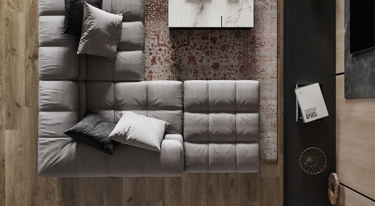 Kényelmes kanapé felülnézetből