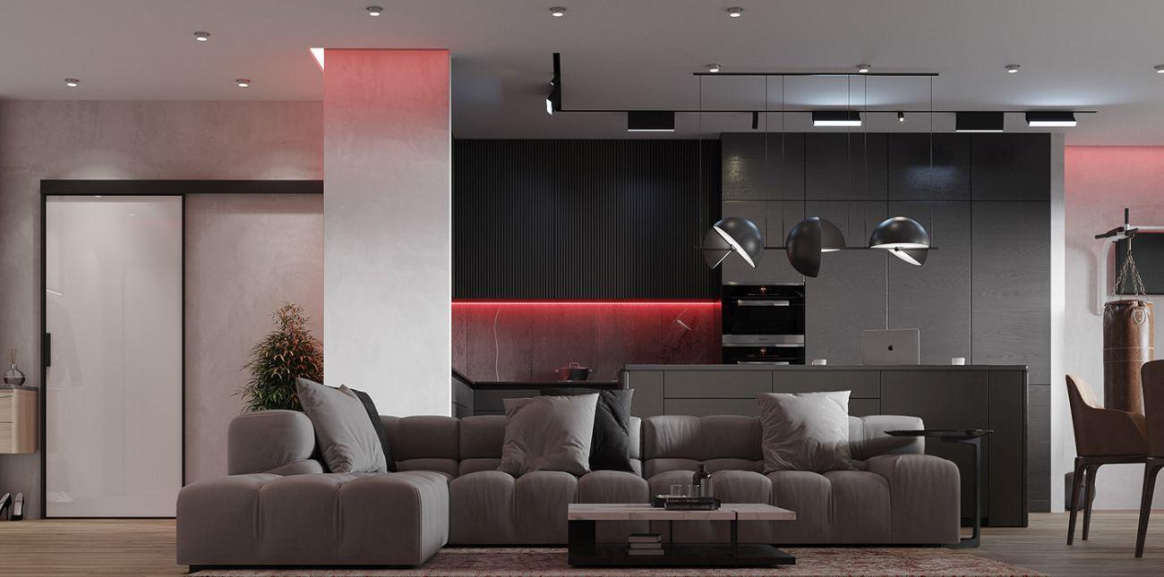 Vörös led fényekkel megvilágított konyhabútor