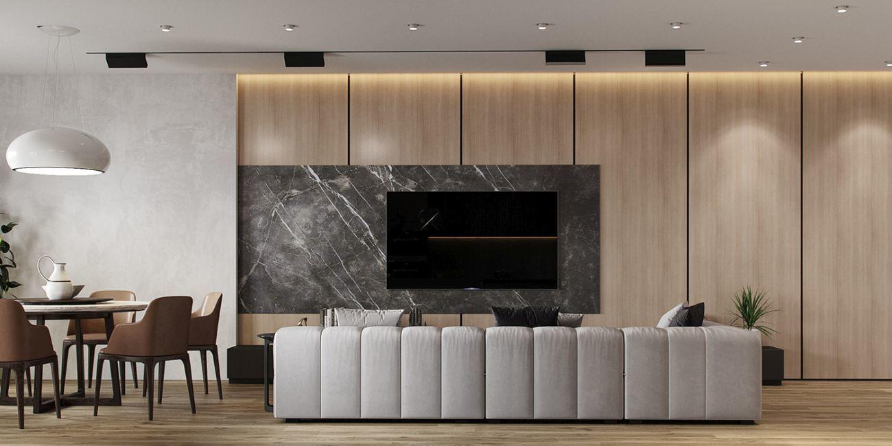Nappali szekrények helyett csak dekorpanelek díszítik a falat és adnak helyet a tv-nek.
