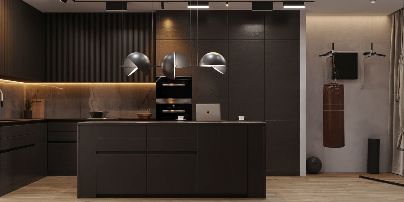 Minimál szigetes konyha izgalmas designlámpákkal