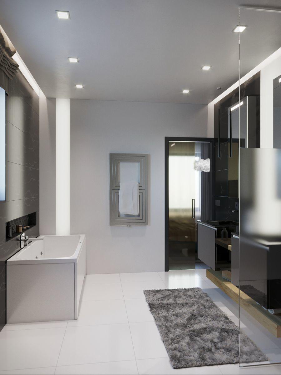 Fürdőkád és design törölközőszárító radiátor