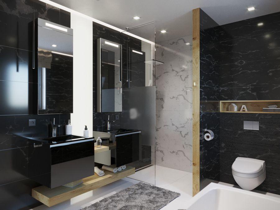 Fekete és fehér luxus fürdőszoba