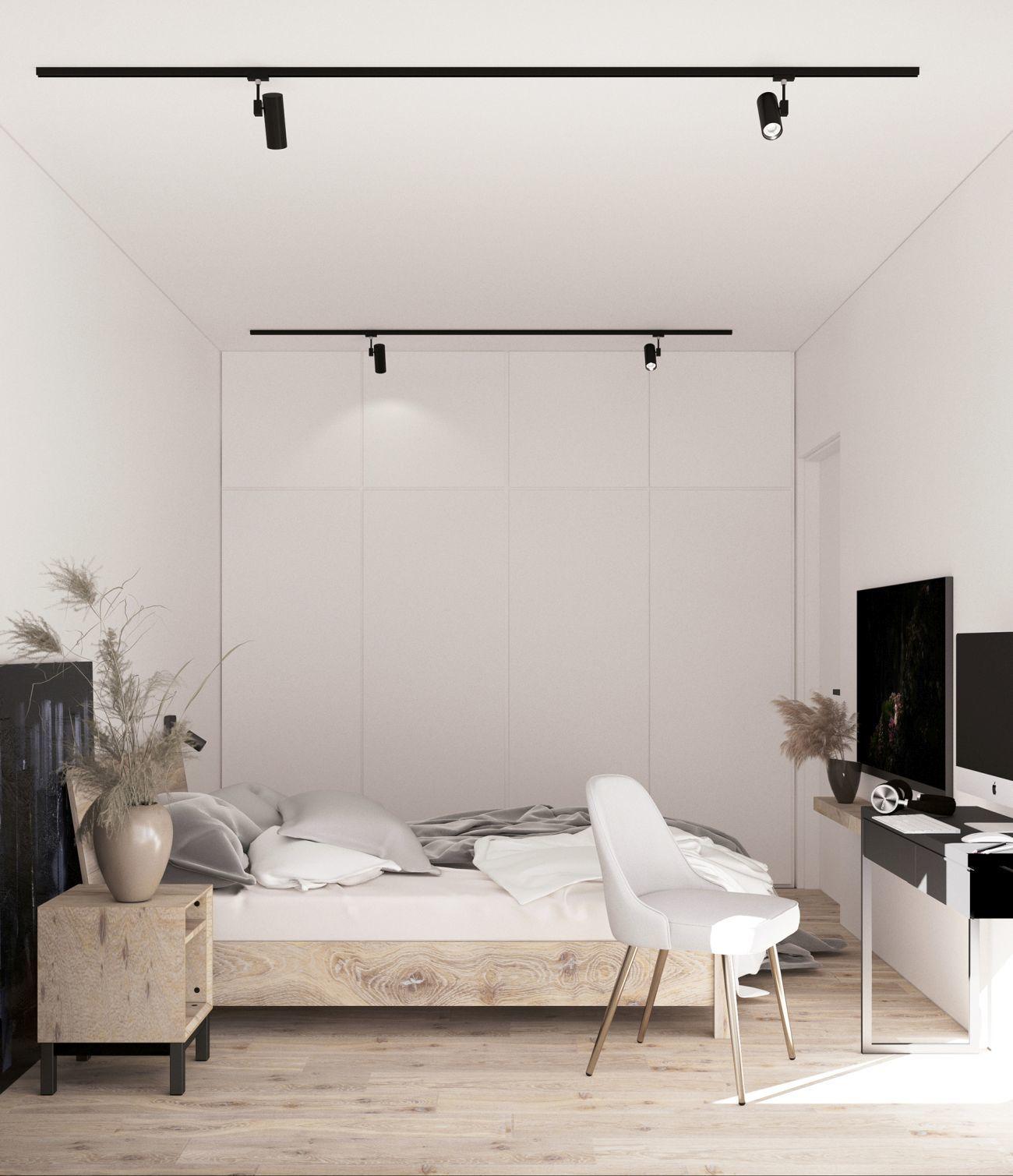 Hófehér hálószoba kis dolgozósarokkal faltól-falig gardróbbal