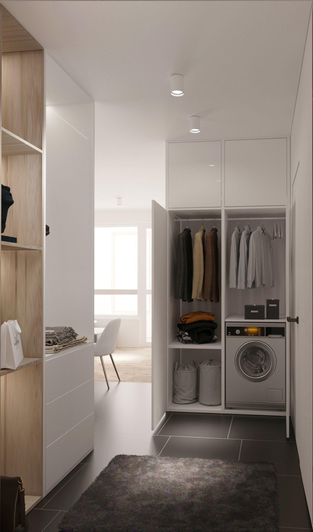 Szokatlan helyen találjuk a mosógépet, de jobb mint a konyhaszekrénybe építenék