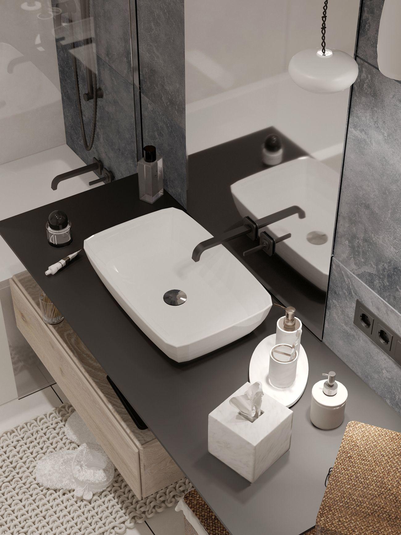 Elegáns mosdó forma antracit mosdópulton