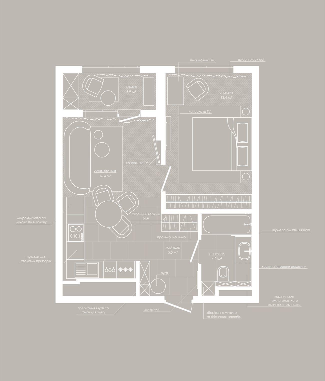 A 42 m2-es lakás alaprajza