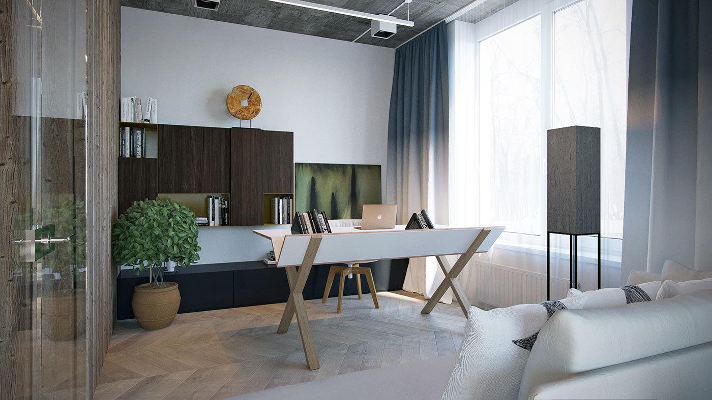 Elszeparált home office különleges íróasztallal