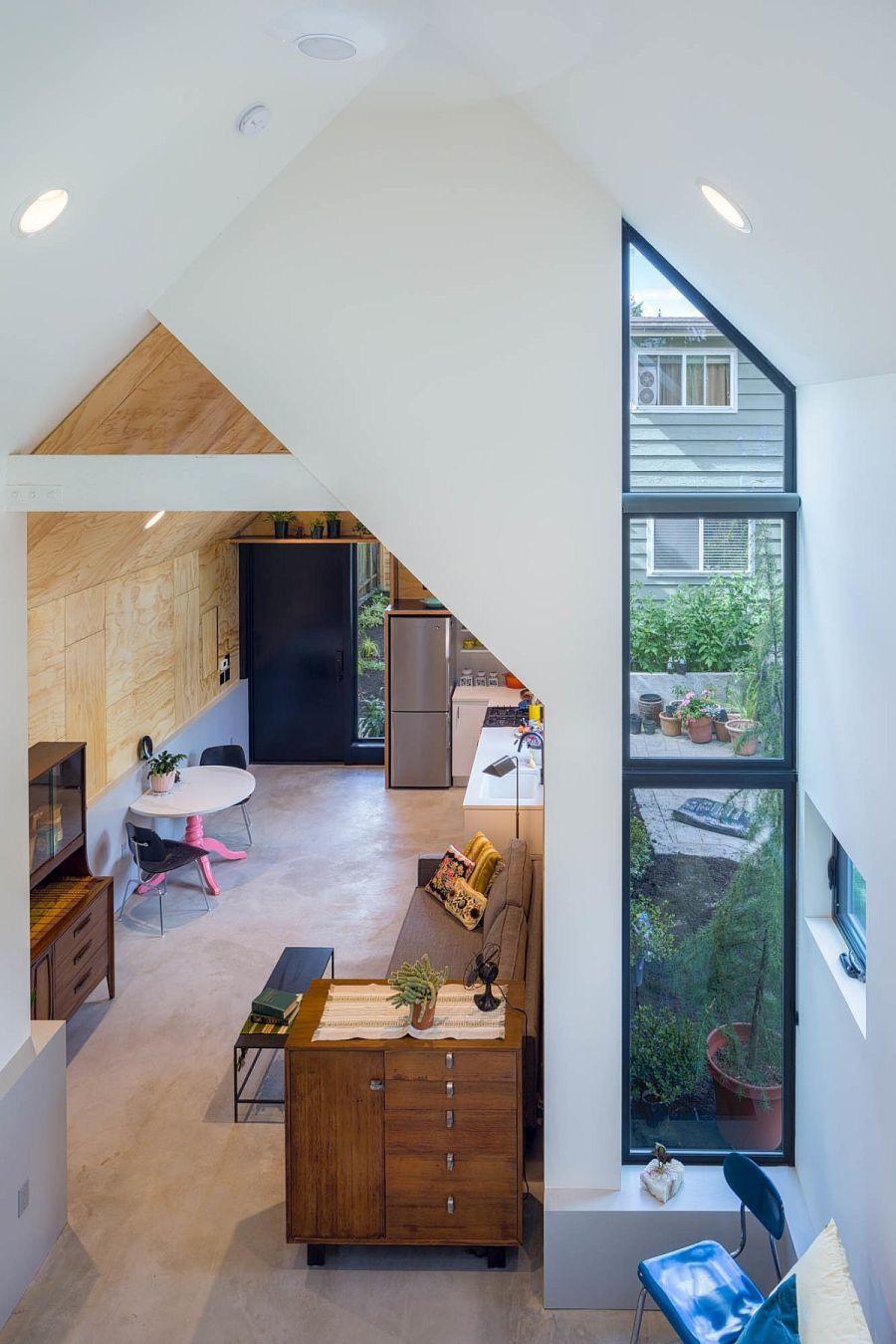 Modern lakberendezés a garázsból átalakított otthonban