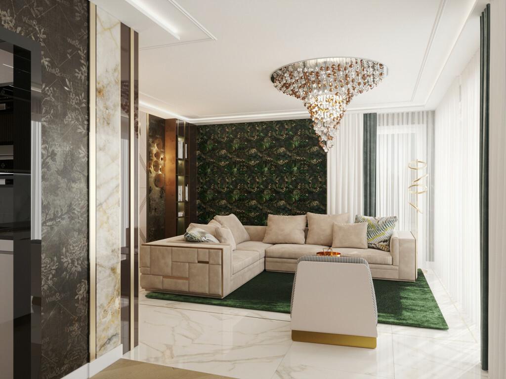 Márvány mintás padlóburkolat és elegáns kanapé a nappaliban