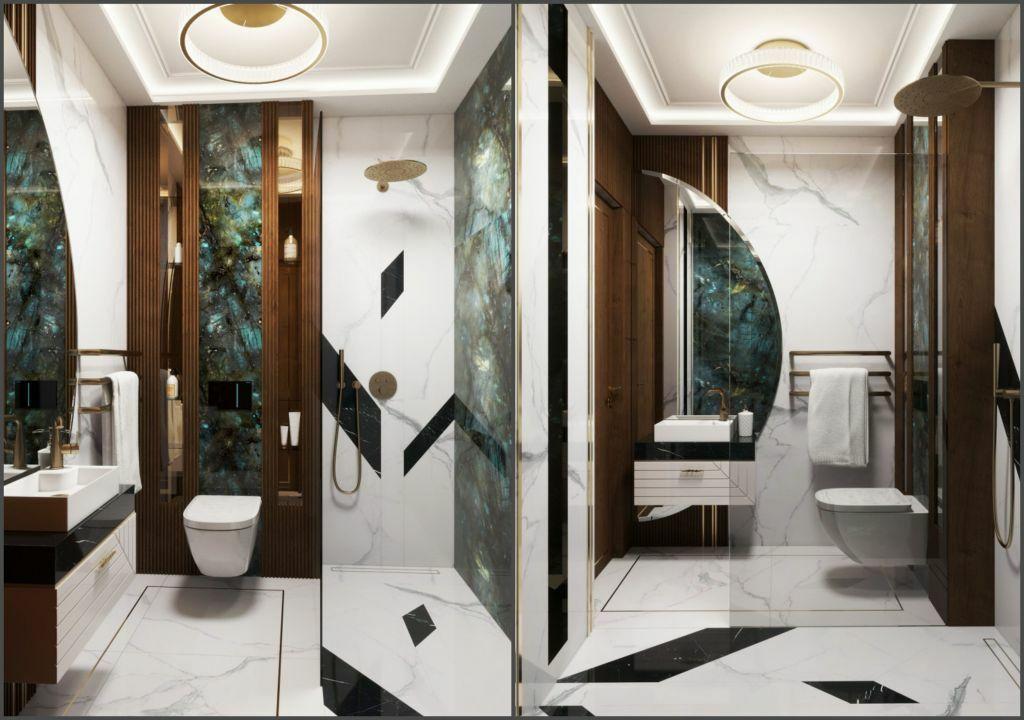 Fürdőszoba egy másik burkolat kombinációval