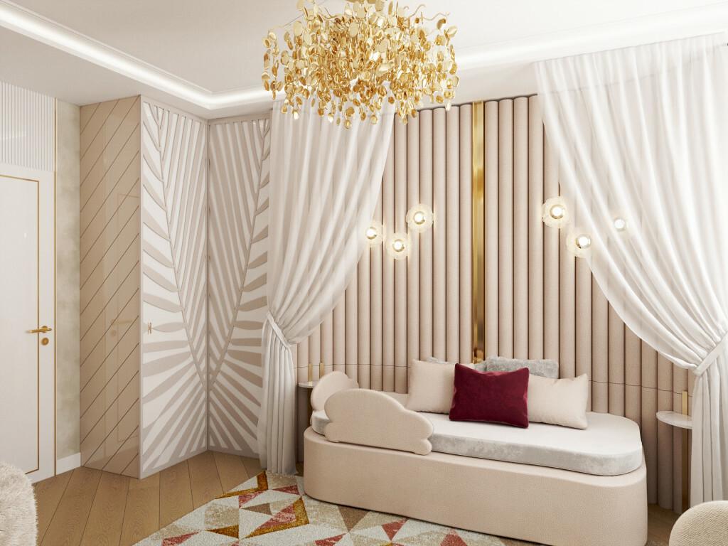 Mintás ruhásszekrény és elegáns ágy