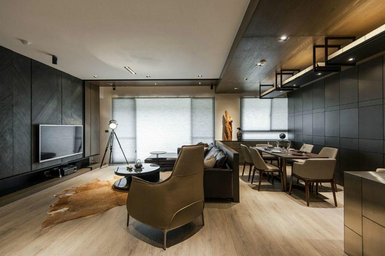 Fa burkolat és falra applikált kőburkolat a nappaliba