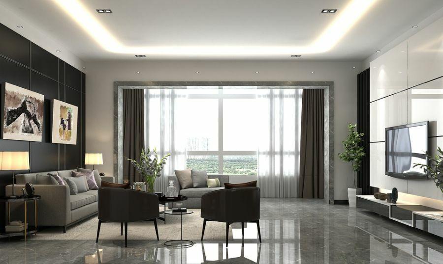 Fényes burkolat nappaliba, ami megsokszorozza a fényt