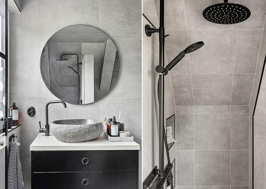 Fekete fürdőszoba szekrény és kőmosdó