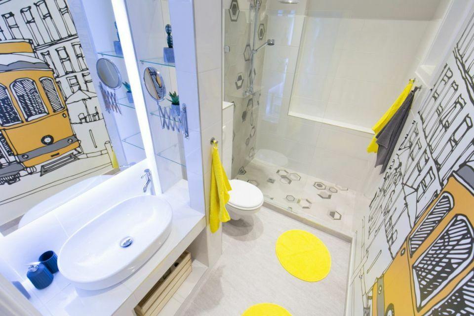 Fürdőszoba rajzolt dekorációval Pascal Home