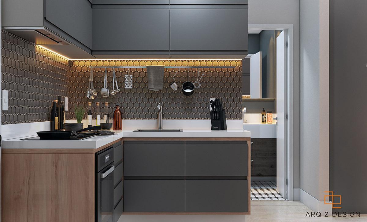 A világos padló és a fehér konyhapult alkotják a kontrasztot a szürke szín mellett