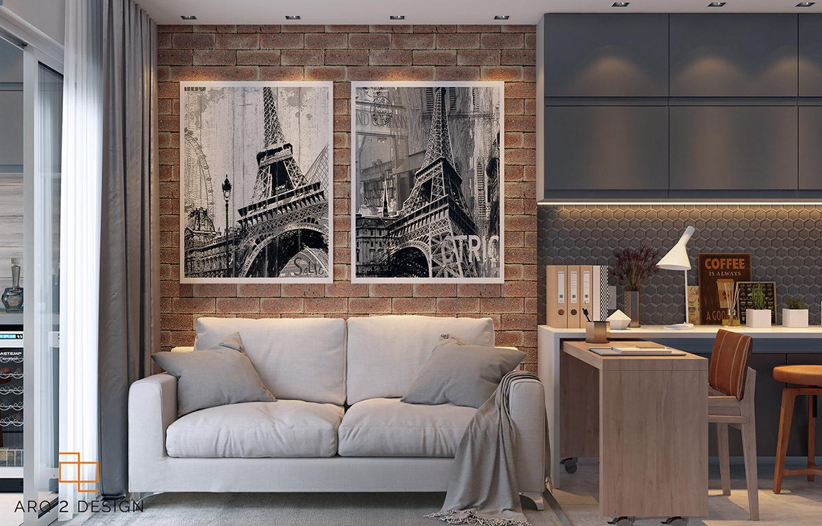 Szerény nappali egy kanapéval és az Eiffel-toronnyal