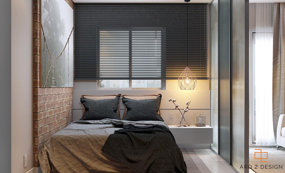 A téglafal dekoráció a hálószobában is megtalálható