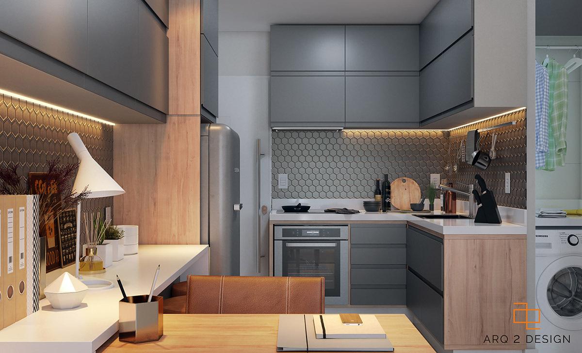 Kellemes sarkos konyha hatszögletű falicsempével