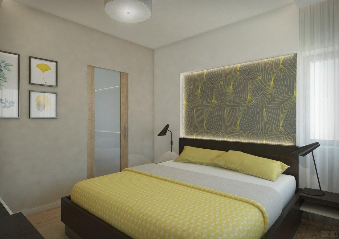 A szülői hálószobát geometrikus tapéta díszíti
