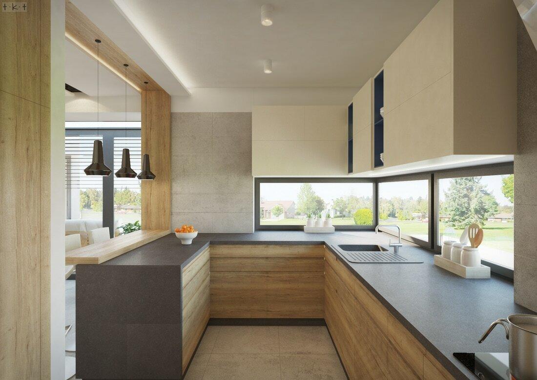 Természetes megvilágítást kap a pult a konyha nagy ablakaink keresztül