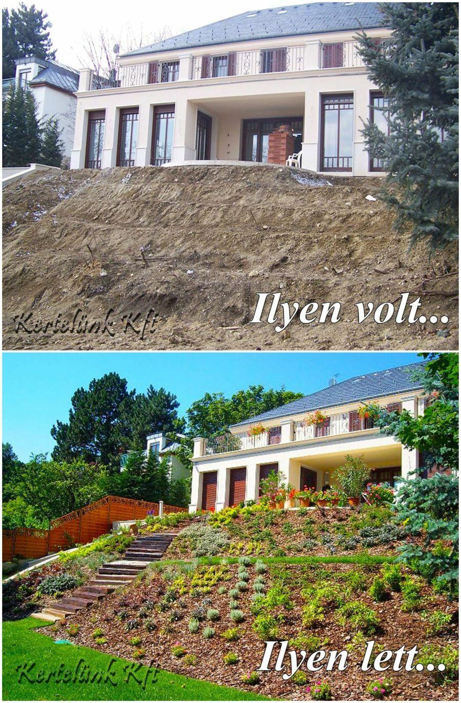 Lejtős kert kialakítása - Kertelünk Kft.
