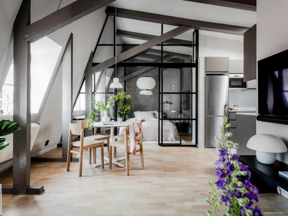 Göteborgi lakás tetőtérben