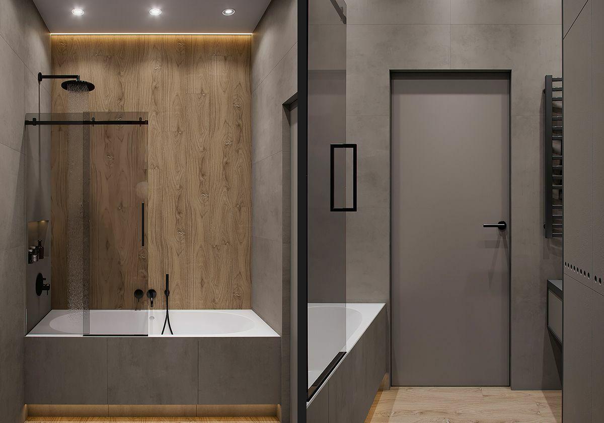 Zuhanyzóval kombinált fürdőkád és fekete csaptelepek