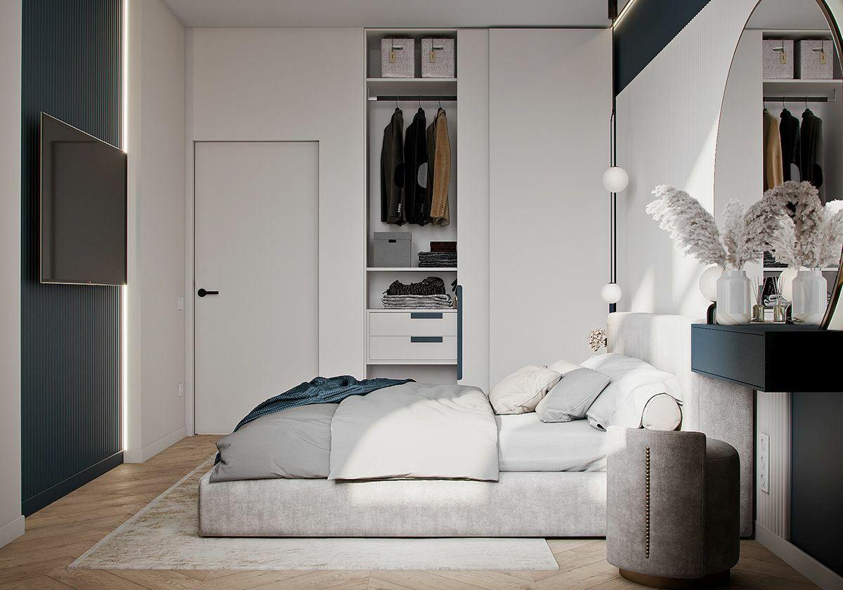 Beépített szekrény a hálószoba részeként